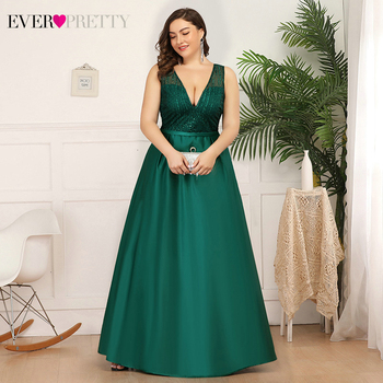 Plus Size Satin Evening Dresses Ever Pretty Deep V-Neck Sequined Ruched Elegant Christamas Holiday Party Gowns Vestido Longo - discount item  40% OFF Special Occasion Dresses
