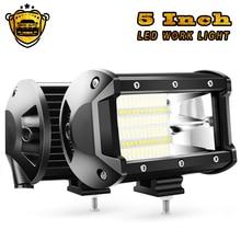 купить 2PCS 5Inch 72W Double Row Spot Flood Bar 10800Lumens Driving Fog Led Off Road 12V Lights for Trucks Jeep ATV UTV SUV Boat Marine дешево