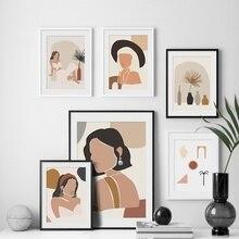 Póster nórdico minimalista de la vendimia de la muchacha de la manera abstracta y impresiones de la pared del arte de la lona de la pintura de la pared para la decoración de la Sala
