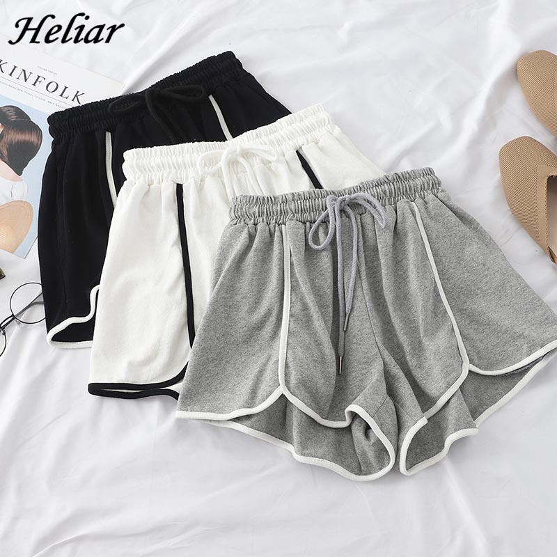HELIAR Summer Women Sports Shorts Femenino Plus Size Running Short Wide Leg Elastic Waist Shorts Sportswear 2019 Summer Shorts