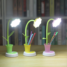 2 In 1 LED Table Lamp with Pen Holder Touch Control Dimming Sun Flower Desk Lamp Children Study Lamp Eye Protection Table Light