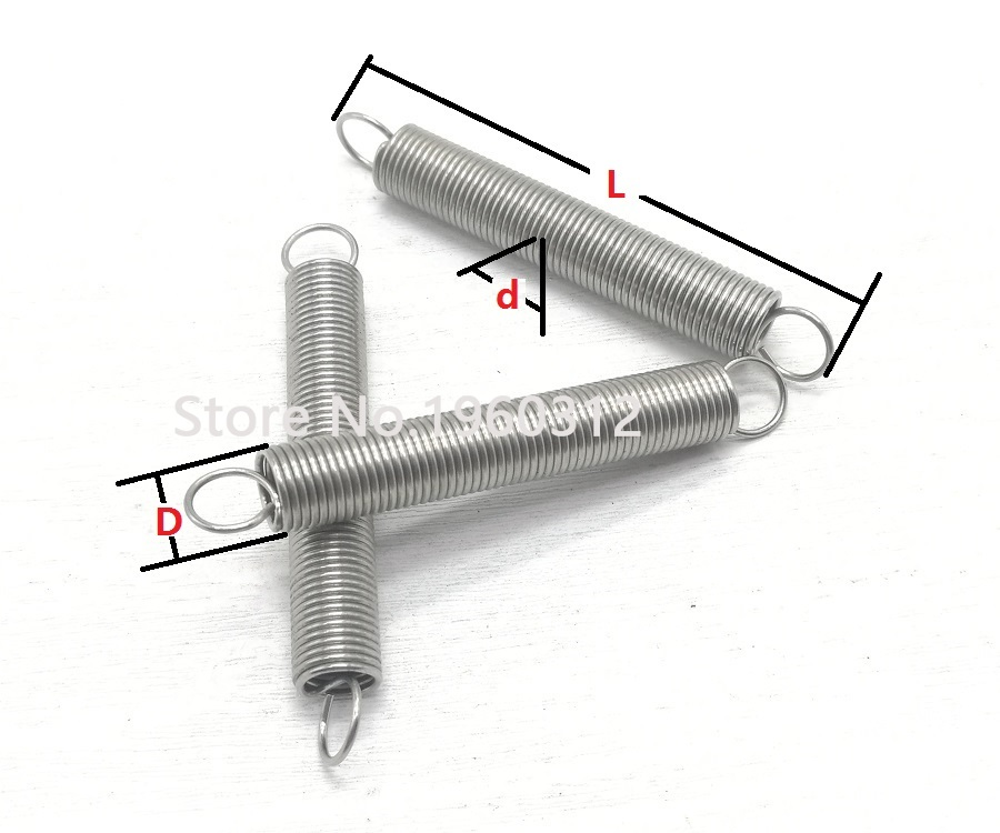 LF-Bolt Size : 0.6 x 6 x 60mm 10Pcs Dual Hook Small Expansion Tension Spring Hardware Accessories 304 Stainless Wire Diameter 0.6mm Outer Diameter 6mm