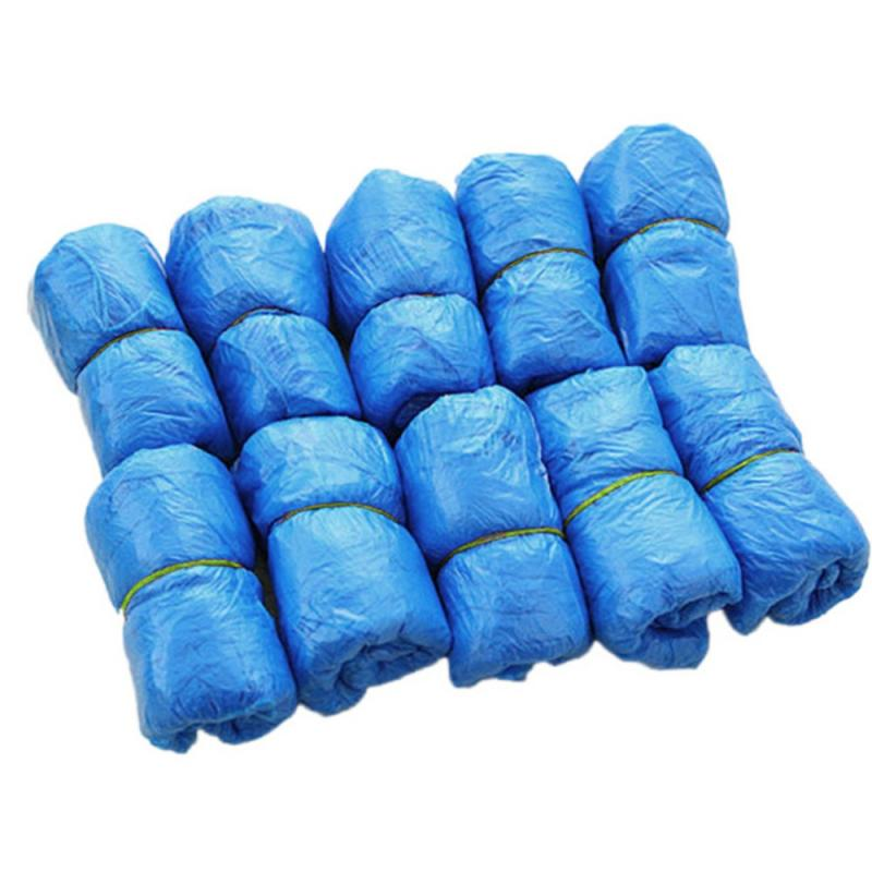 100 Pcs/Bag Disposable Shoe Covers Blue Portable Dustproof Waterproof Anti Slip Household Indoor Plastic Protective Toy Sports