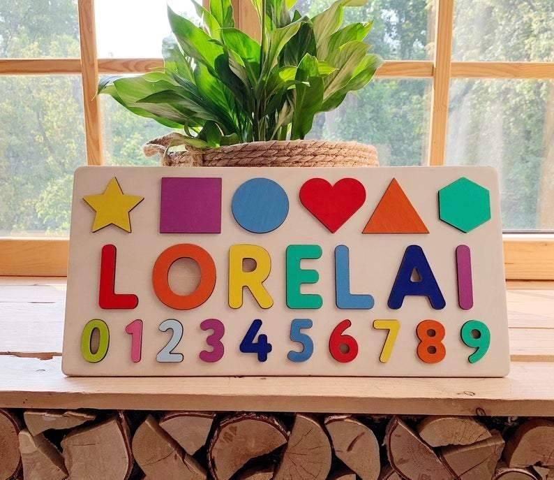 Rompecabezas de madera con nombre personalizado con números, rompecabezas de madera educativo de madera arcoíris personalizado, primer regalo de cumpleaños para bebés pequeños Diario de tapa dura de Corea del Sur, cuaderno retro de alce, papelería para regalos creativa, libro de notas azul brillante para estudiantes