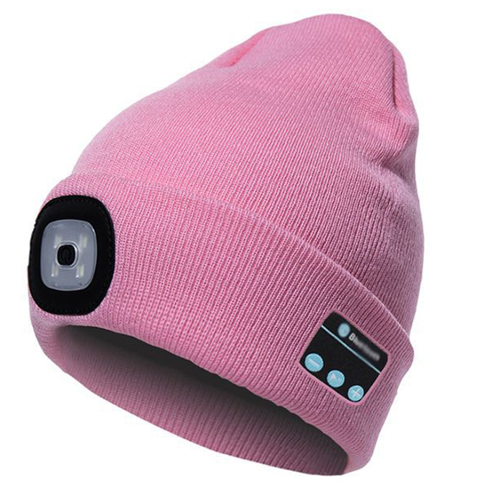 Bluetooth Hat Built-in Stereo Speakers USB Rechargeable LED Knit Cap Outdoors