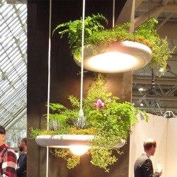 Designerska lampa aluminiowa lampa artystyczna doniczka ogrodowy ogród ogrodowy roślina doniczkowa restauracja kawiarnia żyrandol w Wiszące lampki od Lampy i oświetlenie na