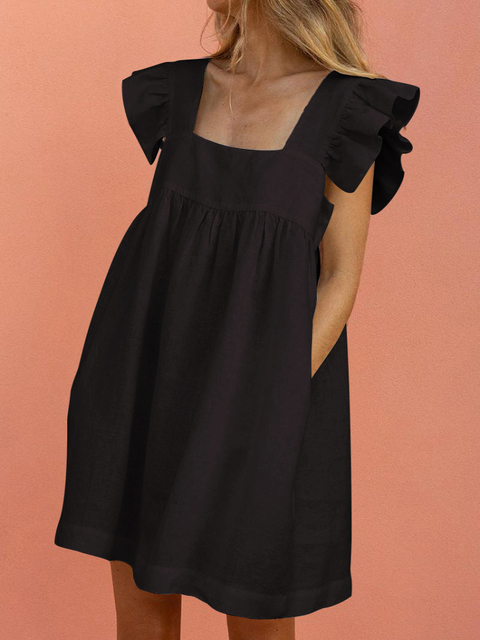 женское короткое платье с квадратным вырезом вечернее вечерние фотография