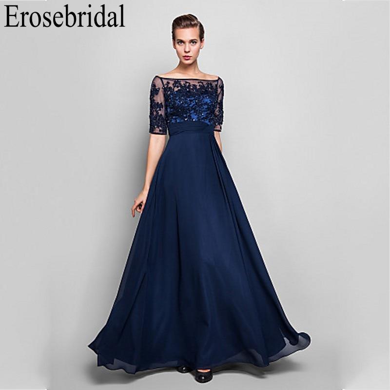 Erosebridal Half Sleeve Chiffon   Evening     Dress   Long 2019 Occasion   Dresses   for Women Beaded Lace Bodice Zipper Back robe soiree