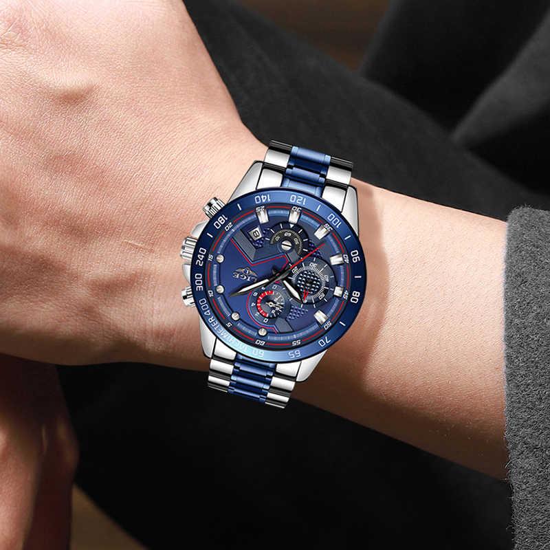2020 LIGE hommes montres hommes affaires analogique horloge mode acier inoxydable sport étanche lumineux montre hommes Relojes Hombre