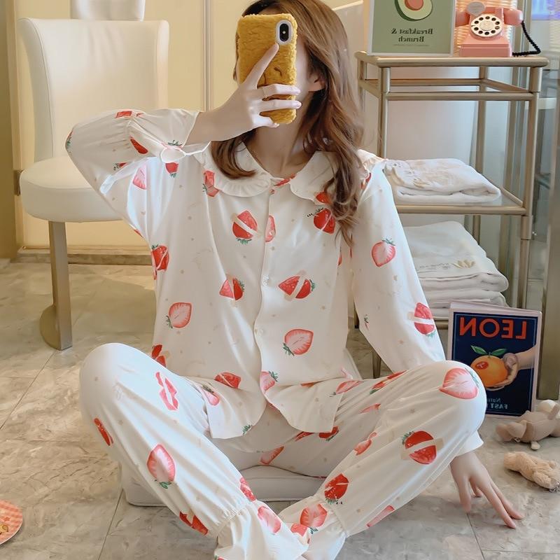 Womens Pajamas Sets Comfortable Strawberry Print Pajama Set Girl Long Sleeve Sleepwear Set Women Nightshirt Sets Long Pants Pj