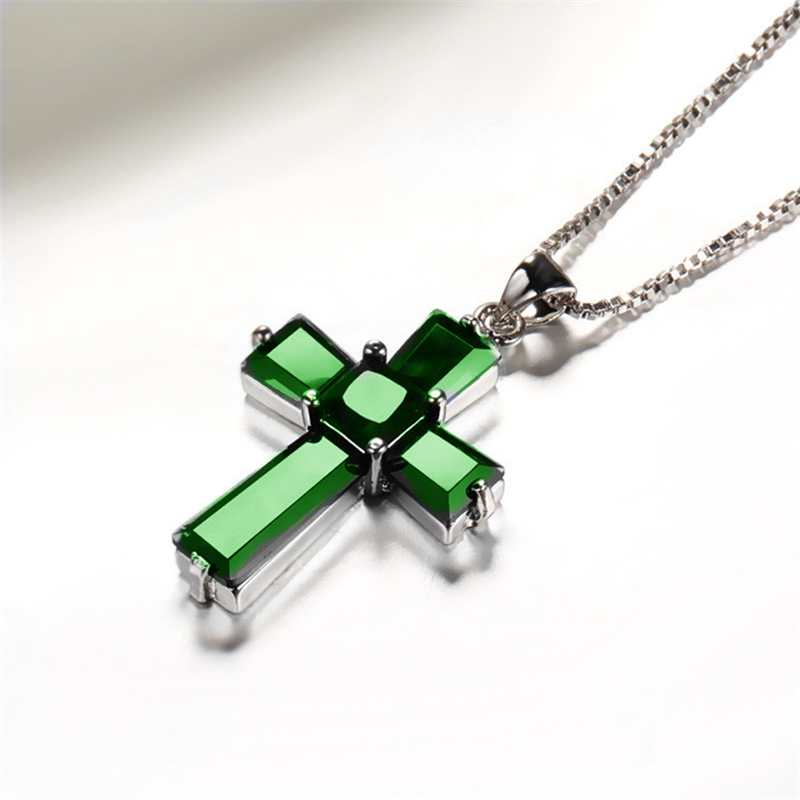 Cross Emerald Pendants Luxurious S925 Streling Silver Color Necklaces Peridot De Emerald Turquoise Bizuteria For Men Women