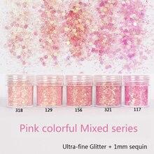 Nail Glitter Sequin Mixed Sparkles Shiny Nail Sequins 3D Pink Glitter Powder Paillettes Nail Art Decoration Nail Tools 10ml