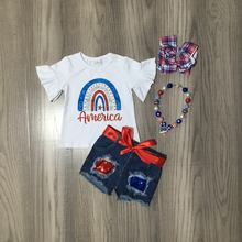 Girlymax julho 4th américa do verão bebê meninas crianças roupas roupas jeans jeans shorts arco-íris lantejoulas algodão combinar acessórios