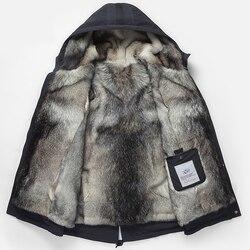 Волчья шерсть лайнер зимняя куртка мужская с капюшоном мех один теплый парка серый съемный натуральная кожа трава подкладка мужская зимняя...