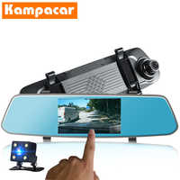 "Kampacar 5 "" Touch Mirror DVR Dash Cameras Video Recorder Dual Lens Auto Car Dvrs With Two Camera HD 1080P Two Car Registrar Cam"