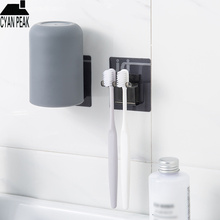 Toothbrush-Holder Bathroom-Accessories Wall-Mount with Cup Suction-Hooks Storage-Rack