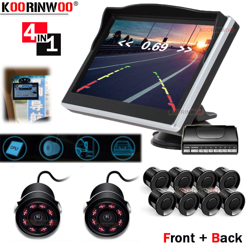 Koorinwoo 360 птица парктроник автомобильный монитор окно автомобиля видео парковочные датчики 8 фронтальная камера с камерой заднего вида для безопасности