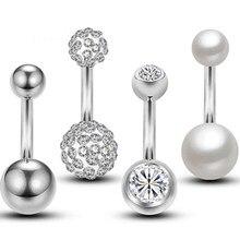 Anéis de botão da barriga de aço inoxidável, 4 unidades, cristal duas bolas, piercing de umbigo, jóias do corpo 14g