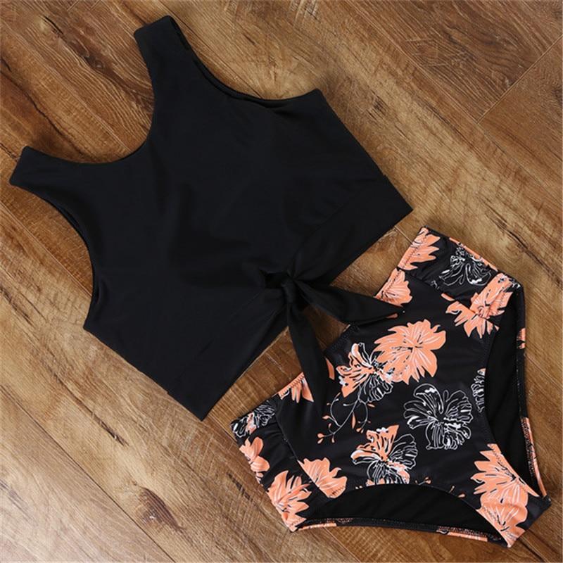 2020 Women Bikinis Set Sports Tank Bikini Tops Retro Snakeskin/Floral/Striped/Leopard High Waisted Bottoms Bow Swimsuit Biquini