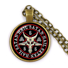 Bronze Pentagram Pendant Necklaces Red Goat Glass Cabochon Sweater Chain Jewelry