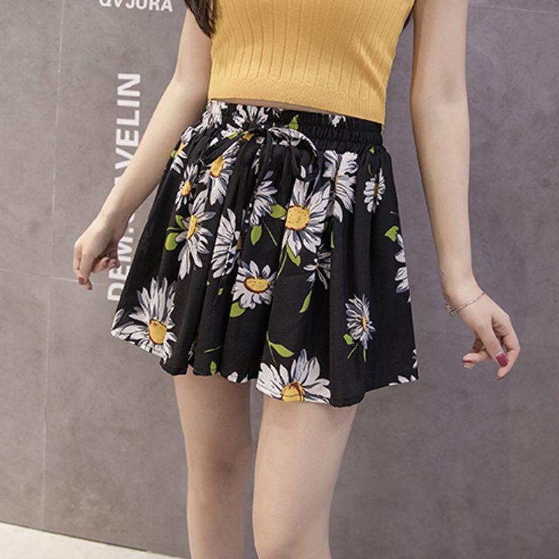 Summer Chiffon Shorts Women\'s Fashion Floral Print Shorts Summer High Waisted Black Short
