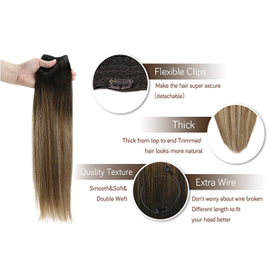 Image 5 - VeSunny One Piece Invisible Halo Hair Extensions Real Human Hair Flip Wire with Clips on Balayage Color #6/60/6 Brown mix Blonde