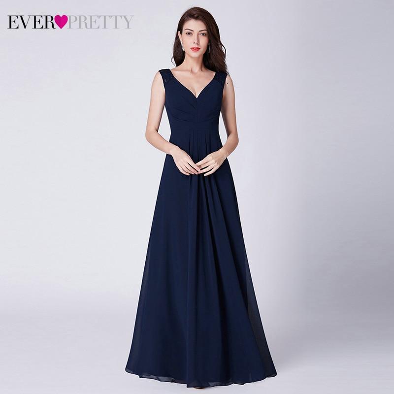 Navy Blue Lace Evening Dresses Ever Pretty EP07420NB A-Line V-Neck Sleeveless Elegant Chiffon Evening Gowns Abendkleider 2019