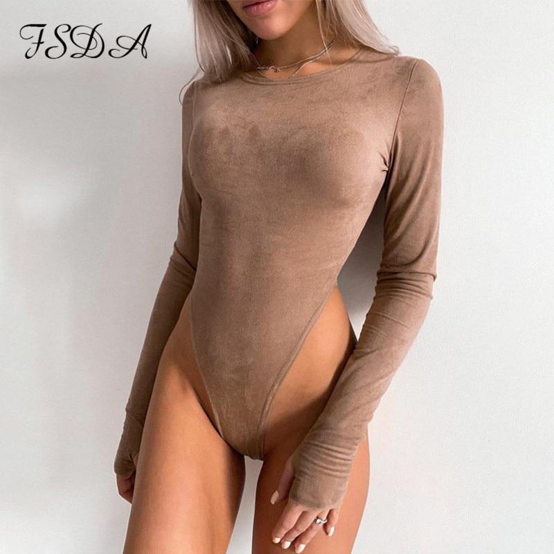 FSDA O Neck Long Sleeve Bodysuit Women Suede 2020 Autumn Winter Sexy Body  Top Khaki Casual Solid Lady Bodysuits Streetwear Bodysuits  - AliExpress