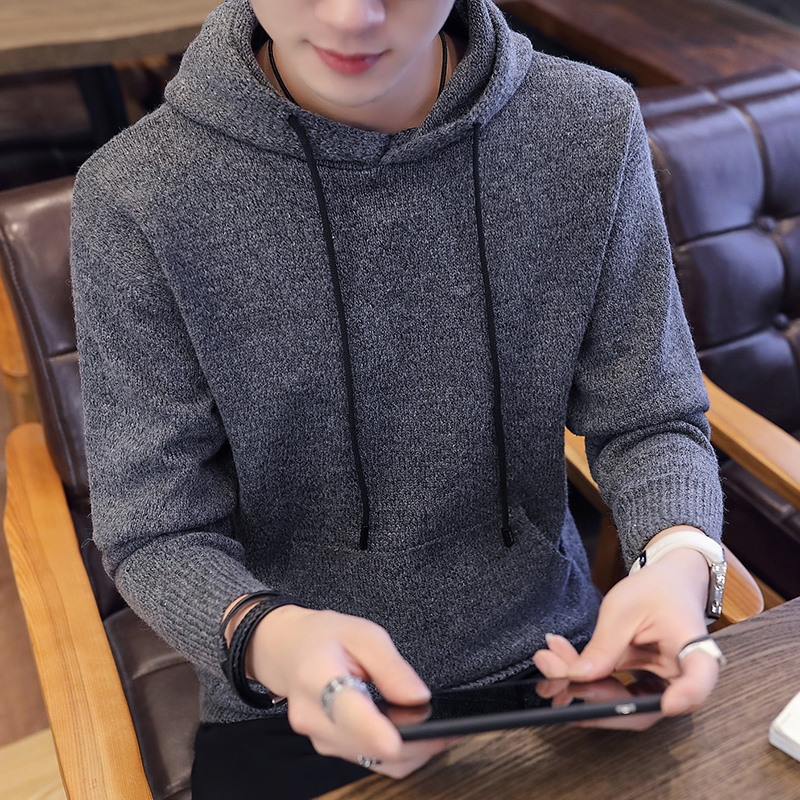 2019 Brand Clothing Fashion Men's Keep Warm Winter Hooded Sweater/Male High Quality Set Head Casual Knit Sweater Size S-XXXL