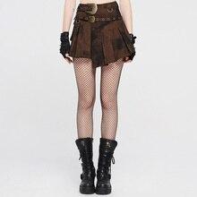 PUNKRAVE Women's Punk Short Skirt Steampunk Irregular Hem Mottled High Waist Min
