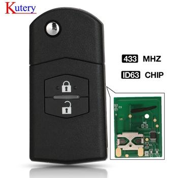 kutery Ulepszony Klapki Remote Car Key 2 Przycisk 433MHz 4D63 Chip do Mazda 2 3 6 CX7 CX9 RX8 Visteon model nr 41521 tanie i dobre opinie dostępna CN (pochodzenie) 434 mhz Key Remote Control ABS + Metal + Circuit board China For Mazda