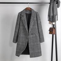 Woolen Plaid Jacket Women Winter 2019 New Winter Women Woolen Coat Long Slim Thickening Warm Coats Female Jackets Gray
