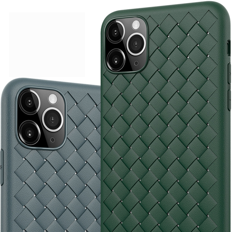 H35a5a9b50e414e13a612d508cf572dd5i NEW Boomboos Classic cross leather pattern weaving breathable soft grid case for iPhone11 for iphone 11 max for apple 11 pro