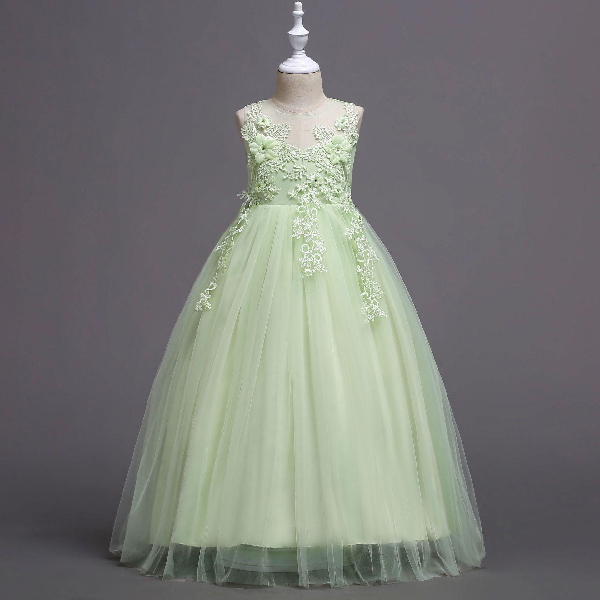 2019 Big Boy Embroidery Sleeveless Long Mopping Children Princess Dress Girls Performance Wedding Dress