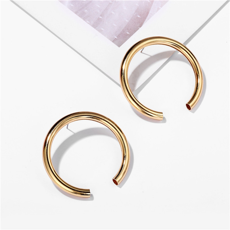 17KM Vintage Round Metal Earrings For Women Fashion Geometric Big Stud Earrings Cricle Gold Earring Female Gift 19 Jewelry 11