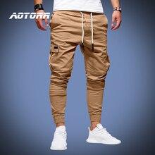 Primavera calças de carga dos homens casuais esportes sweatpants com cordão marca calças compridas do exército joggers pantalon homme 2020 novoCalças Cargo