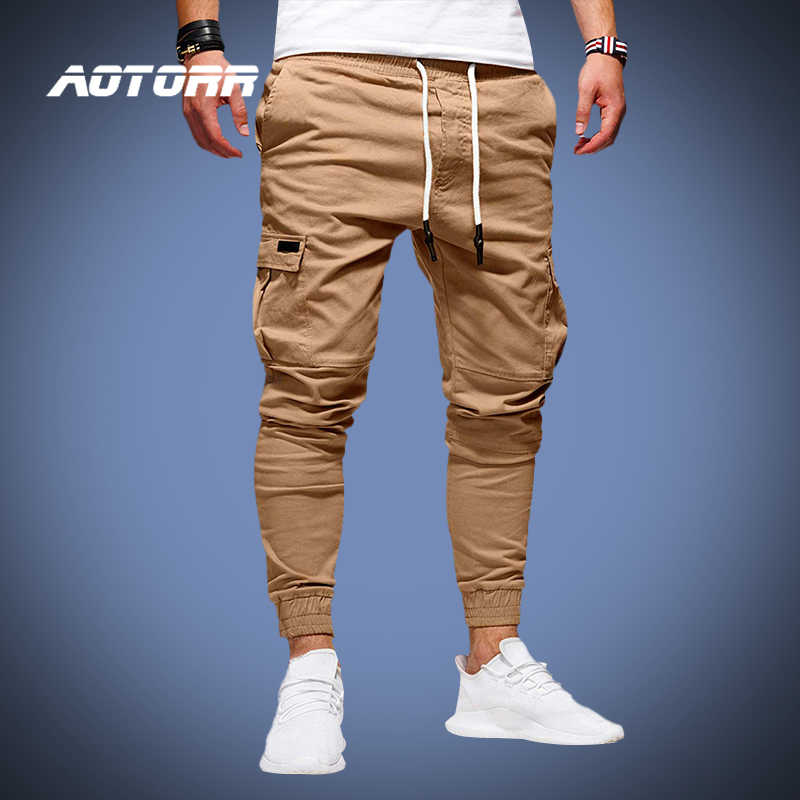 Casual Men Jogger Jogging Cargo Sweat Pants Sports Baggy Loose Solid Trousers