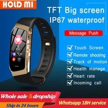 Pulsera inteligente E18 con pantalla táctil a Color, reloj deportivo resistente al agua IP67 con control del ritmo cardíaco y de la presión