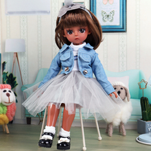 UCanaan 1/6 Black BJD Doll 30CM Tan Skin Girls Dolls Full Outfits With Wig Clothes Set Shoes Makeup Children Dress UP Toys