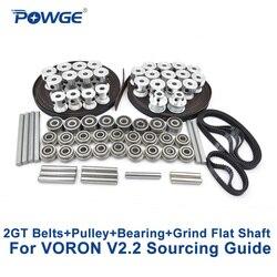 POWGE VORON V2.2 Set GT2 LL-2GT RF Open Timing Belt 2GT 16T 20T pulley 110/188 loop belt Shaft Bearing 625 F695 2RS MOTION PARTS