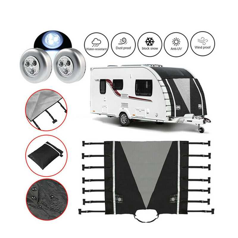 POHOVE Caravan Towing Cover Caravan Protector Accessories Caravan Protector Covers Universal Cover with Led Light,220x175cm