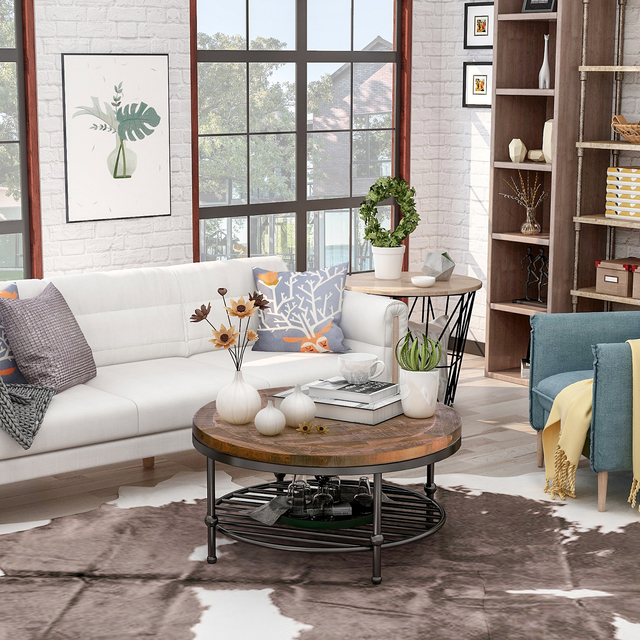Natural Round Coffee Table with Storage Shelf  3