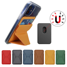 Strong Magnetic Card Holder Leather Macsafe Card Slots For iPhone 12 Pro Max Mini 12Pro Magsafing Case Card Pocket Wallet Stand