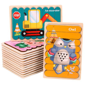 Kid Brain Wooden Toy Double-sided 3D Strip Animal Puzzle Telling Stories Stacking Jigsaw Montessori Educational Toy for Children 2