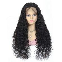 Water Wave peruki z ludzkich włosów 8 34 Cal 13x4 koronkowe peruki z dziecięcymi włosami naturalną linią włosów % 150 gęstości Remy zamknięcie koronki peruki