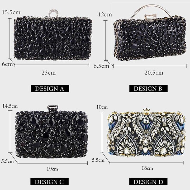 Women Clutch Evening Bag Beaded Crystal Lady Wedding Purse Rhinestones Handbags Silver Black Evening Clutch Bags for Women