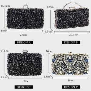 Image 5 - Women Clutch Evening Bag Beaded Crystal Lady Wedding Purse Rhinestones Handbags Silver Black Evening Clutch Bags for Women