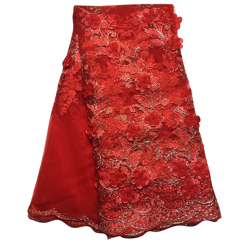 2020 Nigeria African 3D Tulle Lace Fabric Embroidery Top Quality Swiss Voile Lace With Bead Tulle Tissu Dress For African Women