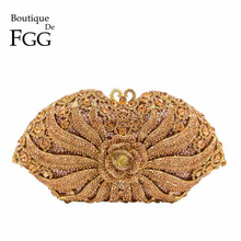 Boutique De FGGดอกไม้RoseแชมเปญคริสตัลClutchesกระเป๋าผู้หญิงตอนเย็นงานแต่งงานค็อกเทลกระเป๋าถือMinaudiereคลัทช์