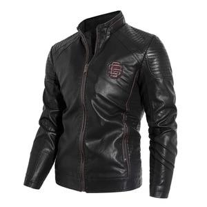 Image 5 - חדש 2019 סתיו וחורף מודלים בתוספת קטיפה גברים של עור צווארון צווארון PU אופנוע עור מעיל מעיל